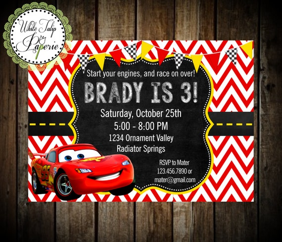 Cars Invitation Card Template Free: Cars Invitation Cars Lightning McQueen Invitation Cars