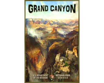 GRAND CANYON National Park -Original Retro Travel Poster National Park Arizona Colorado River available in 3 sizes -New Art Print 140