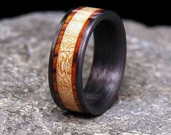 Curly Maple Cocobolo Rosewood Bands Wood Inlay Carbon Fiber Wedding Band or Ring