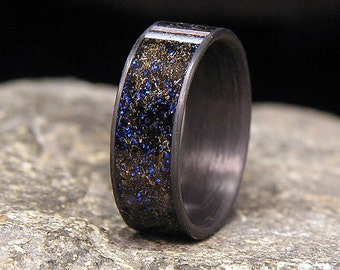 Blue Twilight Meteorite Shavings Inlay Carbon Fiber Wedding Band or Ring
