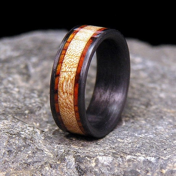Curly Maple Cocobolo Rosewood Bands Wood Inlay Carbon Fiber