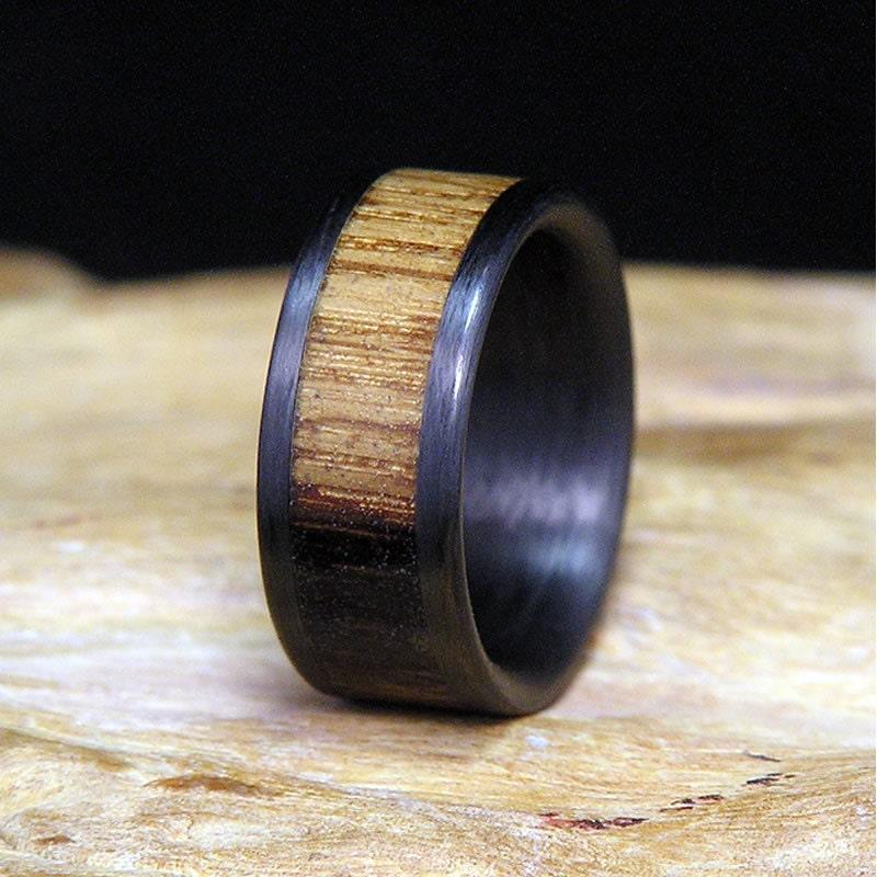 used jack daniel distillery whiskey barrel wood carbon fiber wide edges wedding band or ring - Carbon Fiber Wedding Rings