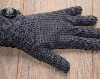 Merino Wool Gloves with Celtic Cable cuff - charcoal - dark grey
