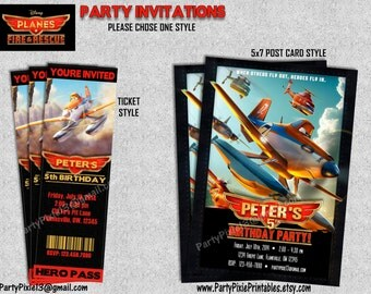 Disney Planes Fire and Rescue Party Invitations - Ticket Style, 5x7, 4x6 - Printable Customized with your personal details. Digital Files