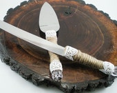 Wedding Cake Cutting Knife Set, Rustic Twine and Lace Stainless Steel Knives