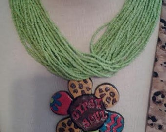 handmade clay pendant one of a kind