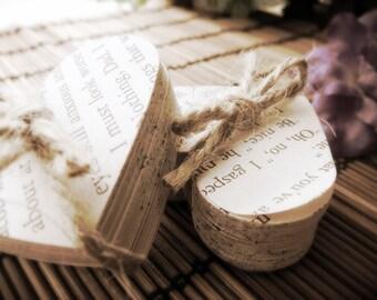 Vintage Wedding Favour Book Novel Heart Bundles Literary Romantic Paper Heart Die Cuts (Choose Number Of Bundles)