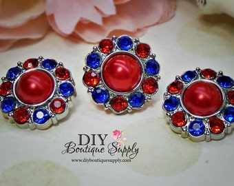 July 4th Rhinestone Pearl Buttons Fourth of July  Red, White Blue Acrylic Pearl Buttons Embellishments USA  Flower Centers 5pcs  18mm 588035