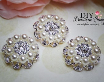 Pearl Rhinestone buttons Crystal Pearl buttons Crystal Embellishment flower centers Headband Supply Hair bow centers  26mm 591042