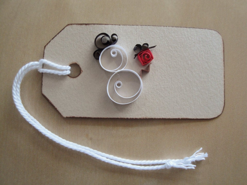 Quilled paper snowman with red present gift tag set of 6 for Quilling kitchen set