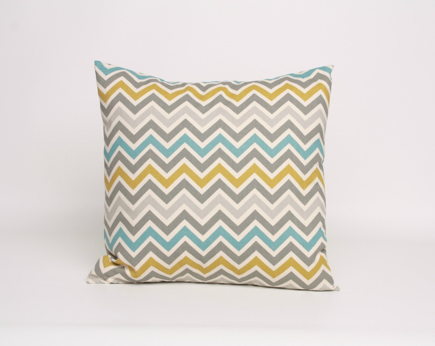16 x 16 Throw Pillow Blue Gray and Green Chevron Pillow 16 x