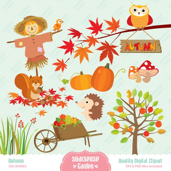Autumn Digital Clipart, Happy Fall Clip Art