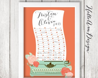 Wedding Guest Book - vintage Wedding - Guest Book Print -Wedding Art Print - Guest Book alternative - Wedding Guest Book - Typewriter