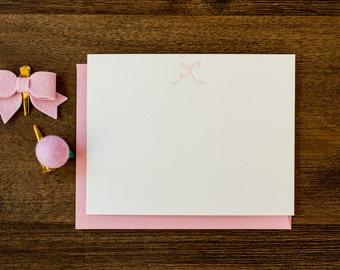 Letterpress Pink Bow Stationery