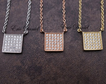 Sterling Silver Square Geometric Necklace, Silver, Yellow Gold or Rose Gold, Geometric Jewelry, CZ, Geometric Necklace, Square Necklace