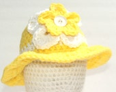 Yellow and White Sun hat with Ruffles,Yellow Sun Hat,Baby Girl Easter Hat,Sundays Best Baby Hat, Baby Hat with Brim, Made to order Baby Hat