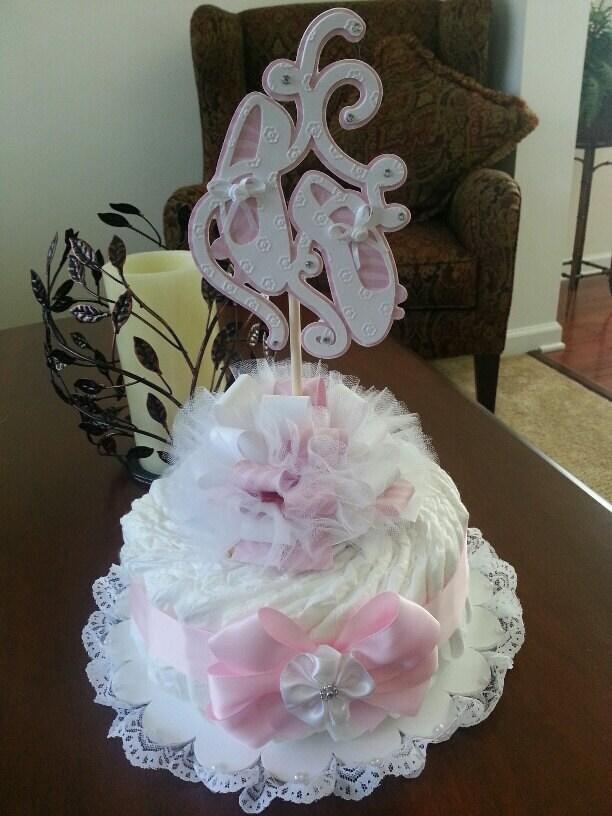 one tier ballerina shoes diaper cake baby shower centerpiece