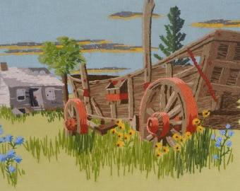 Vintage Crewel Artwork Farm Scene