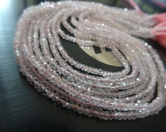 2,5 to3 mm Rare Natural Morganite Micro Faceted Rondelle Full 13 inch strand -AAA+ Quality