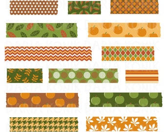 Autumn Washi Tape Clip Art Set-Fall clipart, orange, green, brown, patterned washi tape, scrapbooking, eps, png, jpeg, instant download