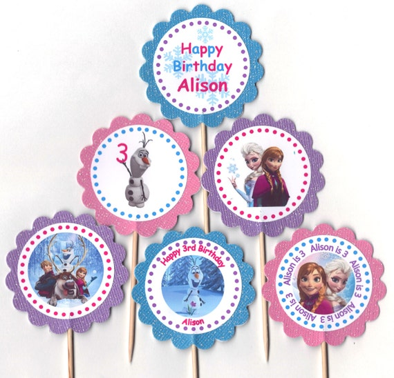 Glittery Frozen Cupcake Toppers Birthday Party Decorations Set