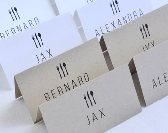 Personalized Printable Place Cards Placecards Name Cards Rustic Kraft Cutlery Dinner Customisable