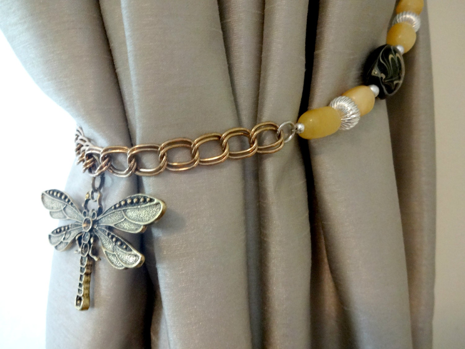 Dragonfly Charm Curtain Tiebacks Nature Home Decor By