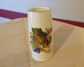Small Japanese Bud Vase with Floral Design