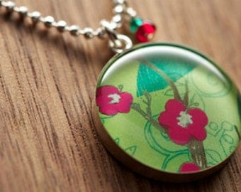 Starbucks Pink Blossom Necklace in sterling silver, resin and diamond cut sterling silver chain. Made from recycled, upcycled  gift cards.