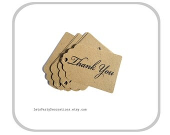 Favor Tags Wedding- Small Favor Tags- Thank You Tags- Kraft Paper Tags- Gift Tags Choose Quantity