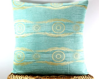 chain link decorative throw pillow cover silk pillow 16x16 tiffany blue pillow gold accent. Black Bedroom Furniture Sets. Home Design Ideas