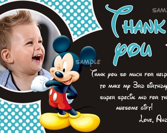 Mickey mouse thank you card, Mickey mouse card - Digital file