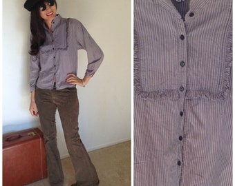 Sale Vintage Blouse Small Stripes Gray