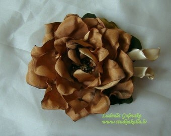 Handmade golden-brown satin flower brooch, flower clip & pin