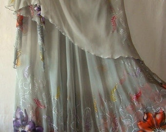 Dress.Natural silk dress - handmade artwork, silk painting, gray floral dress, gazania