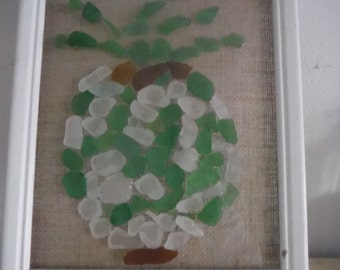 Sea Glass Pineapple on Glass Framed Art