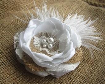 White Rustic Hair Clip - Burlap Hair Flower - Rustic Wedding - Rustic Bridal Hair Accessorie - Burlap Lace Hairpiece - Feather Fascinator