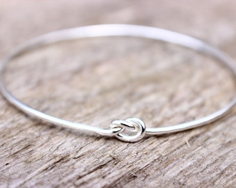 Sterling Silver Love Knot Bracelet, Bridesmaid Jewelry Set or Single, Tie the Knot Bracelet, Bridesmaid Gift