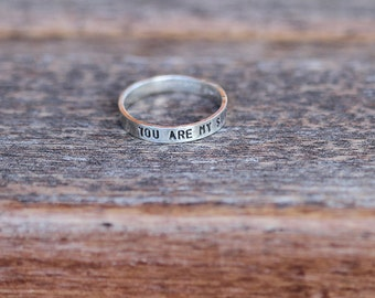 Personalized sterling silver stack ring K002