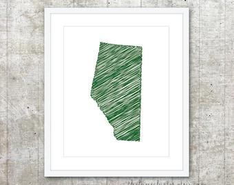 Alberta Province Art Print - Custom Canadian Province Poster - Green - Modern Minimalist Wall Art