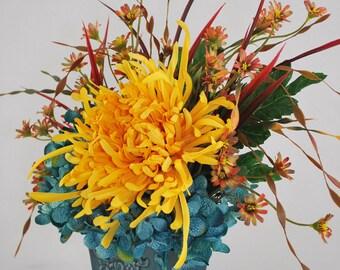 Blue Hydrangea Bright Yellow Mum Silk Floral Arrangement Rectangular Blue Ceramic Planter