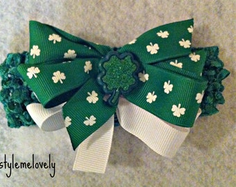 St Patricks Baby Girl Boutique Bow Crocheted Headband