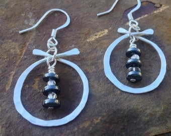 Zen Asian jewelry hammered silver earrings with hematite and glass beads hand forged silver earrings