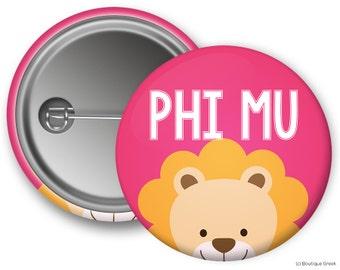 Phi Mu Peeking Lion Sorority Greek Button