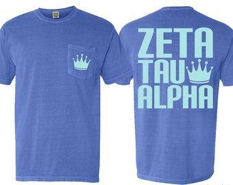 ZTA Zeta Tau Alpha Crown Sorority Pocket Tshirt