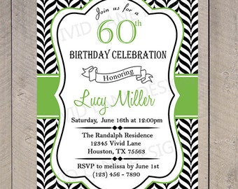 Adult Birthday Invitation, Invite, 21st, 25th, 30th, 40th, 50th, 60th, 70th, 80th Black and White Chevron, Green 6059