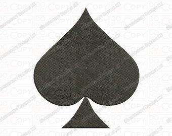 Spade Playing Cards Embroidery Design in 1x1 2x2 3x3 4x4 and 5x7 Sizes