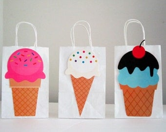 Ice Cream Party Favor, Goody, Gift Bags