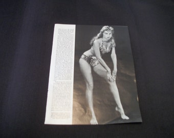 Retro PINUP IRISH McCALLE  Page of Magazine, Blk White, She was Sheena, Back Side Jayne Mansfield, From Femme Fatales