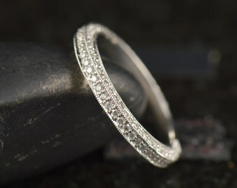 """Custom Order for Shannon - Three Sided Pave Wedding Band, """"Almost"""" Eternity Band, Anna **No Milgrain**"""